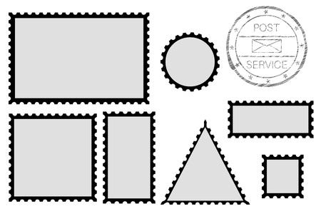 Blank post stamp shape - rectangle, triangle, circle, square. With black border Çizim