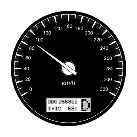 Speedometer. 90 km per hour. Black flat illustration