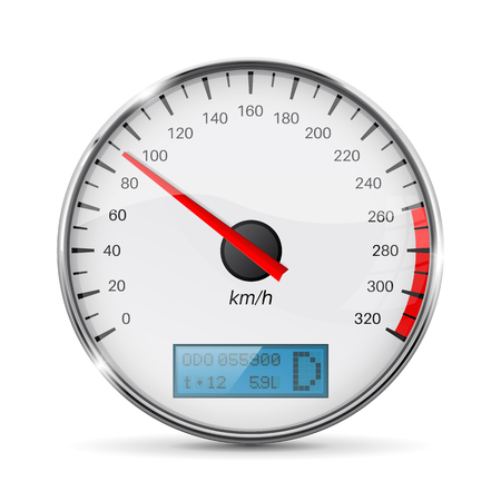 Speedometer. Speed gauge with metal frame