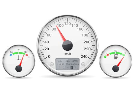 Car dashboard gauges with metal frames. Speedometer, fuel gauge and engine thermometer