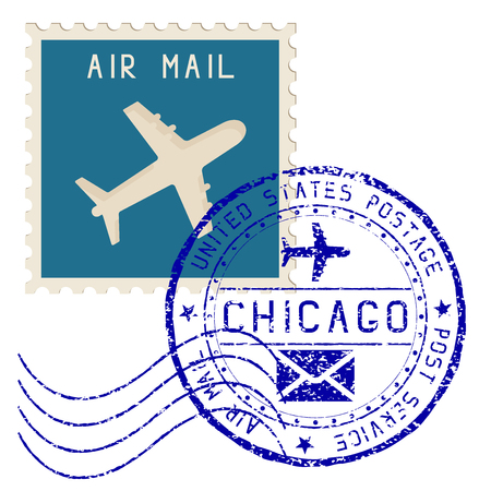 Air mail stamp. Chicago post round impress Illustration