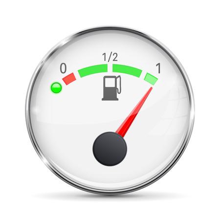 White fuel gauge with chrome frame. Full tank Ilustração