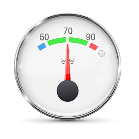 dashboard: Car engine temperature gauge. Normal. With metal frame