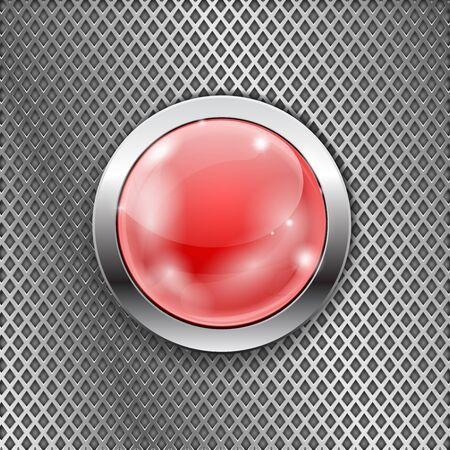 glass reflection: Red round glass button with metal frame on steel perforated background. Diamond shape holes