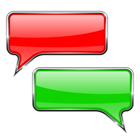 glass reflection: Red and green speech bubbles. Rectangular 3d icons Illustration
