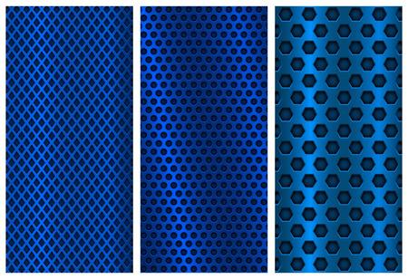 青い金属穿孔背景。パンフレットのデザイン テンプレート。鋼のチラシのレイアウト  イラスト・ベクター素材