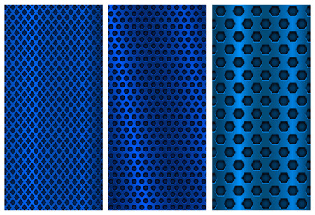 Blue metal perforated backgrounds. Brochure design templates. Steel flyer layouts Ilustracja