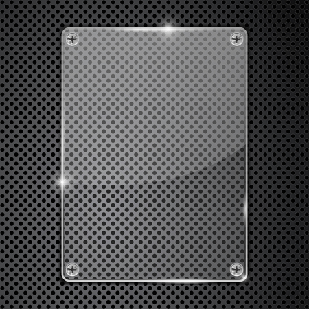 Transparent glass plate on metal perforated illustration