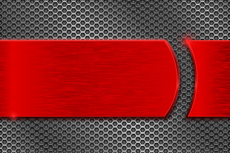 Red metal plate on perforated background. Vector 3d illustration