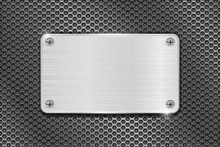 steel industry: Metal brushed plate on iron perforated background. Vector 3d illustration