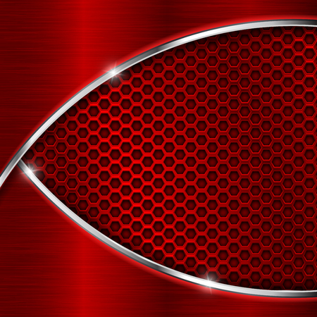 Red perforated background with metal waves. Shiny 3d vector illustration