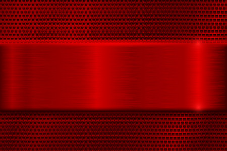 brushed: Red metal perforated background with square holes. With red stainless steel plate Illustration