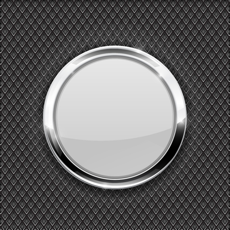 White round glass button on perforated background. Diamond shape holes