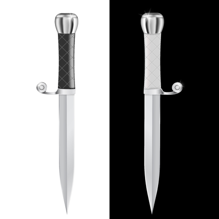 Dagger illustration isolated on white and black