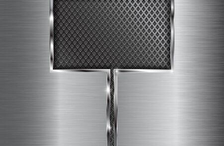 Metal brushed background with perforation. Vector 3d illustration Illustration
