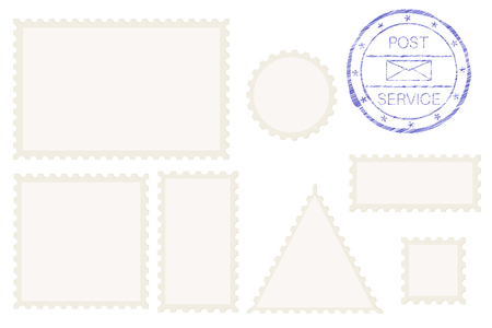 Blank post stamp shape - rectangle, triangle, circle, square. Vector illustration