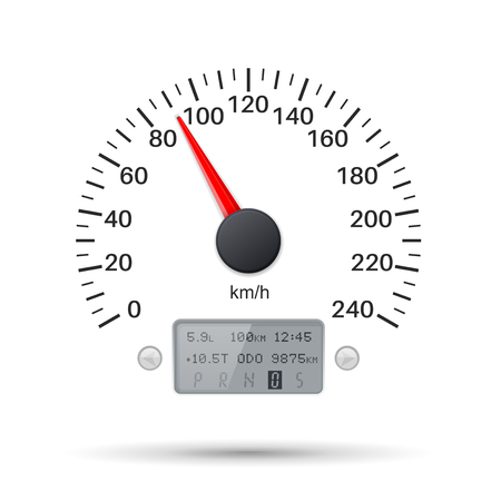 Speedometer scale. Speed gauge. Vector 3d illustration isolated on white background Illustration