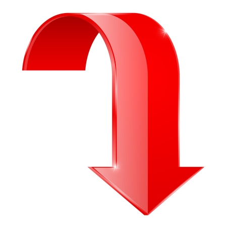 Red curved DOWN arrow.