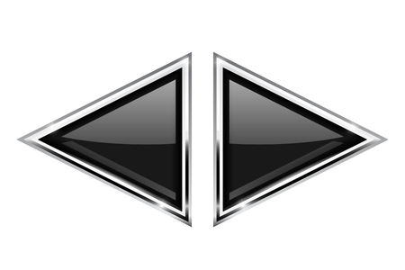 glass reflection: Black triangle buttons with metal frame Illustration
