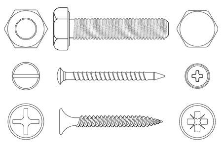 Bolt, screws and nut white outline icons.