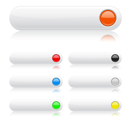 白い光沢のあるボタン。 光が反射して楕円形の色の web アイコン  イラスト・ベクター素材