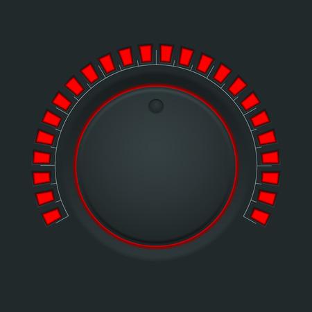 volume knob: Volume switch. Black round button knob Illustration