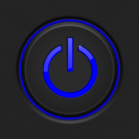 Black Power button with blue backlight