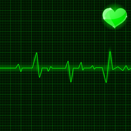 heart monitor: Green electrocardiogram with heart symbol