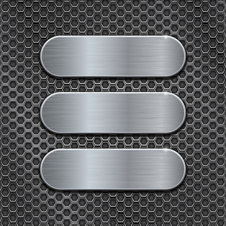 Metal brushed plates on perforated background