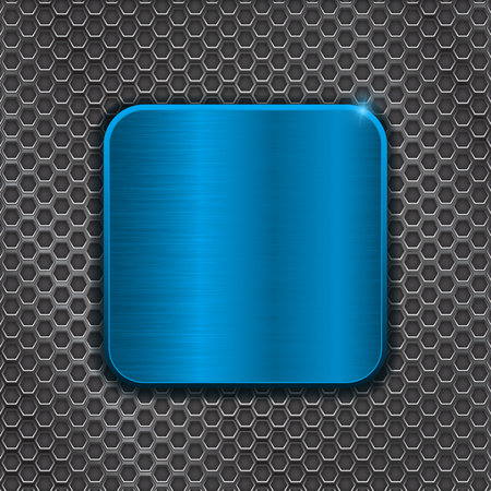 Blue metal plate on iron perforated background