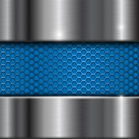 Metal stainless steel background with blue perforation
