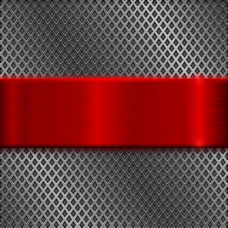 赤色のブラシをかけられたプレートと金属穿孔背景