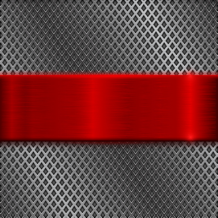 Metal perforated background with red brushed plate