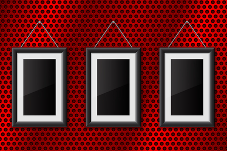 Three black empty pictures on red metal perforated background Illustration