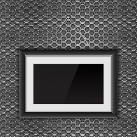 Empty black photo frame on metal perforated background