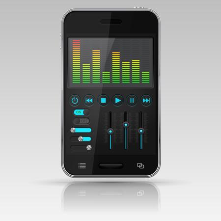 Digital equalizer on smartphone screen Фото со стока - 84110115