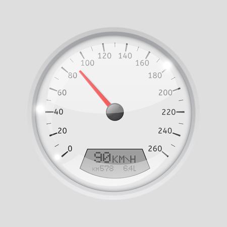 White round gauge on gray background Illustration