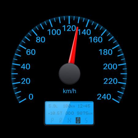 Black speed gauge with blue back light.