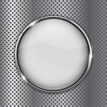 White glass button on metal perforated background Illustration