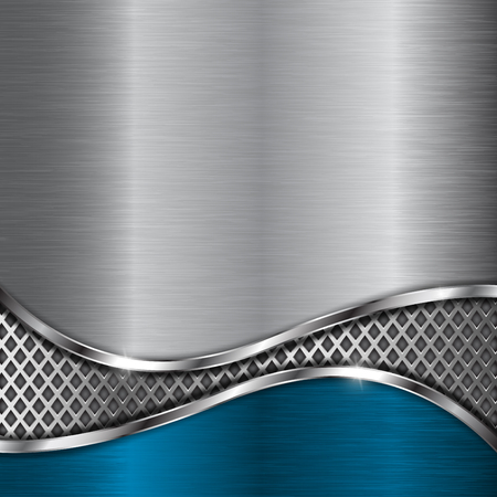 Metal background with perforation and blue element Çizim