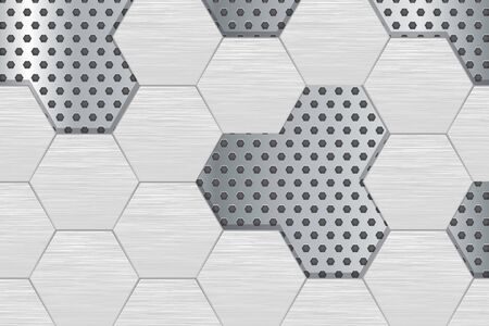 Metal perforated background with steel hexagons. Vector 3d illustration