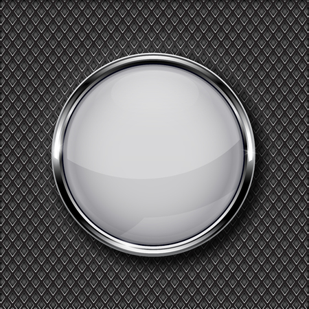 glass reflection: White glass button with chrome frame on metal perforated background. Vector 3d illustration