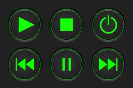 Media player main buttons set. Black and green. Vector illustration Illustration