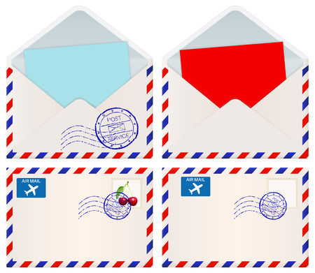 postmark: International mail envelopes. Vector 3d illustration isolated on white background
