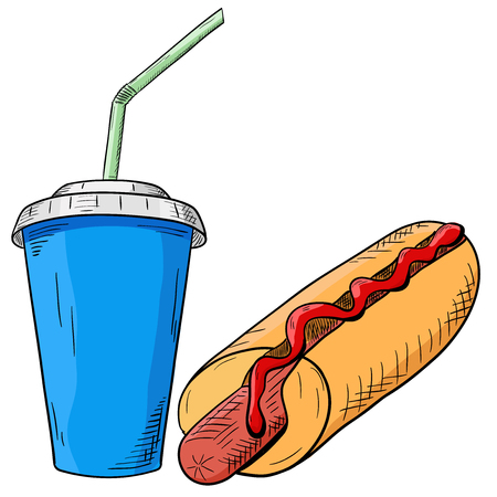 hot dog: Hot dog and drink. Fast food. Hand drawn sketch.