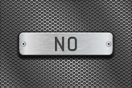 steel plate: NO metal button plate. On metal perforated background Illustration