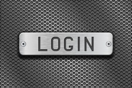brushed steel: LOGIN metal button plate. On metal perforated background. Vector 3d illustration Illustration