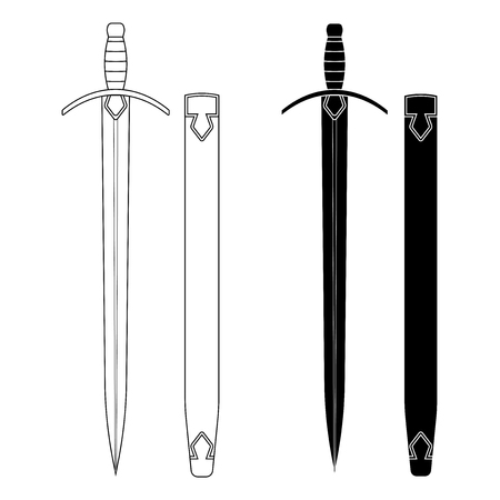 warriors: Set of swords with scabbard