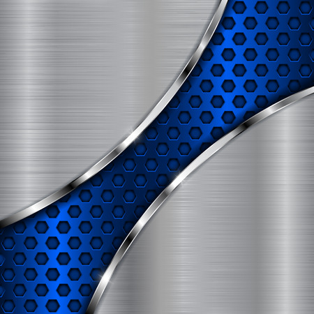hole: Metal background with blue diagonal perforation. Abstract stainless steel template. Vector 3d illustration