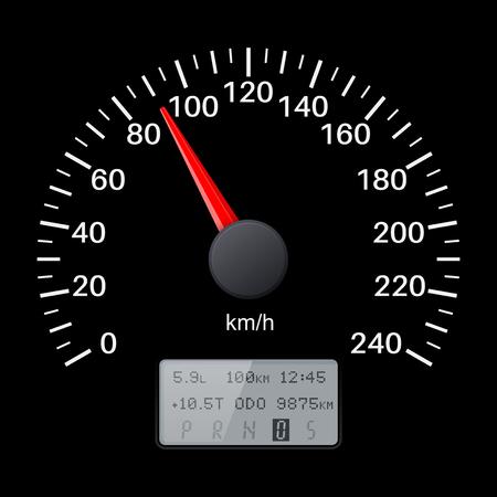 dashboard: Black speedometer scale. Speed gauge